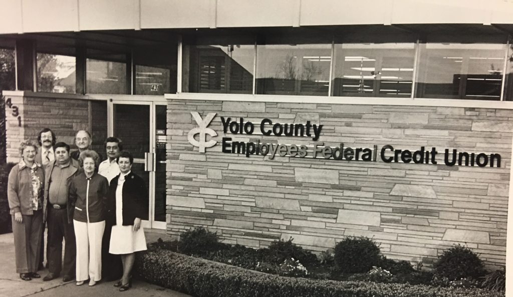 Shot of outside Yolo County Employees Federal Credit Union in Woodland, California.