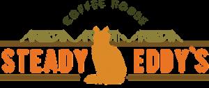 Steady Eddy's Coffee House logo with orange cat illustration.